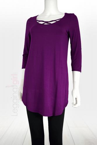 Web-Cage 3/4 Length Sleeve Top - Plum