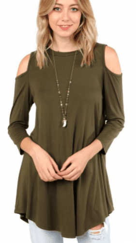 Cold Shoulder Top - Olive