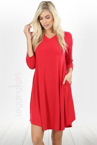 V-Neck Comfort Dress - Ruby