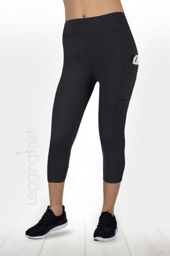 Solid Black Two Pocket  Capris - Wide Band